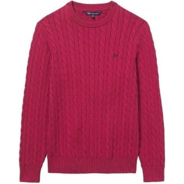 Mens Darracott Cable Crew Jumper in Washed Cherry