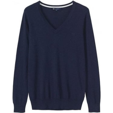Womens Foxy V-Neck Jumper in Navy
