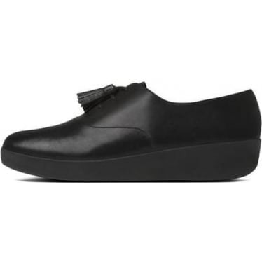 Womens Classic Tassel Superoxford Leather Shoes in All Black