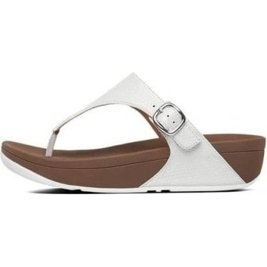 Womens The Skinny Embossed Leather Toe-thong in Urban White