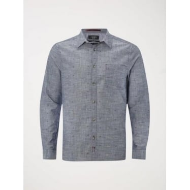 Mens Godwit Embroidered Shirt in Chambray