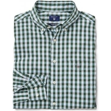 Mens Heather Oxford Gingham Checked Shirt in Nordic Forest