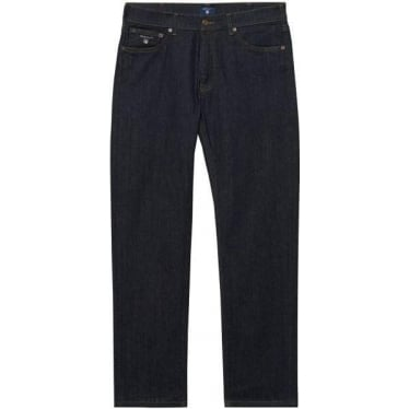 Mens Regular Straight Jeans in Dark Blue