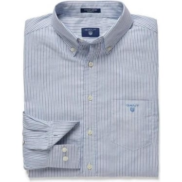 Mens Comfort Oxford Banker Striped Shirt in Persian Blue