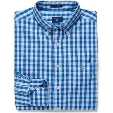 Mens Heather Oxford Gingham Checked Shirt in Royal Blue