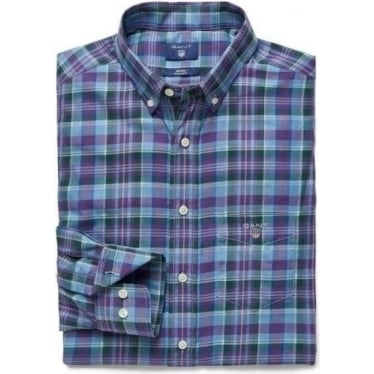 Mens Indigo Tartan Plaid Shirt in Indigo