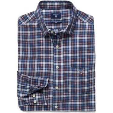 Mens Indigo Small Tartan Plaid Shirt in Indigo