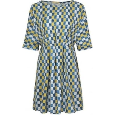 Womens Mrs Green Dress in Strata Check Limpet