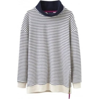 Womens Holkham Funnel Neck Sweatshirt in French Navy Stripe
