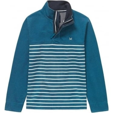 Mens Padstow Pique Sweat in Ink Blue Stripe