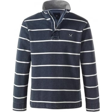 Mens Padstow Pique Sweat in Dark Navy Stripe