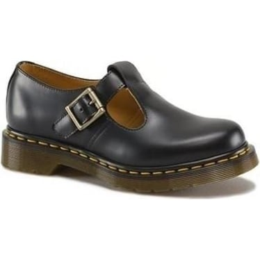 Womens Polley Single Buckle Shoe in Black Smooth