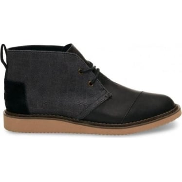 Mens Mateo Chukka Boot in Black Herringbone/leather