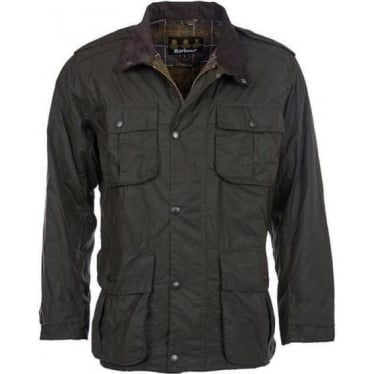 Mens Trooper Wax Jacket in Olive