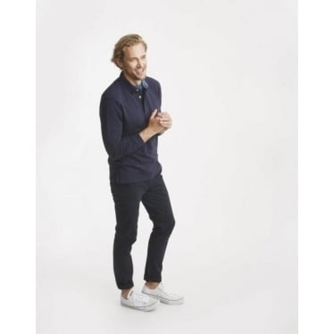 Joules Mens Victor Long Sleeve Slub Polo Shirt in French Navy