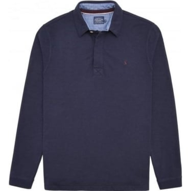 Mens Victor Long Sleeve Slub Polo Shirt in French Navy