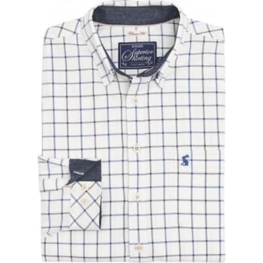 Mens Wilby Classic Fit Oxford Shirt in Blue Overcheck