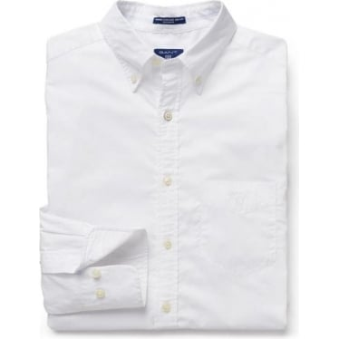 Mens O1. Washed Pinpoint Oxford Regular Bd in White