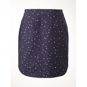 Womens Magical Garden Spot Embellished Skirt in Wallpaper Blue