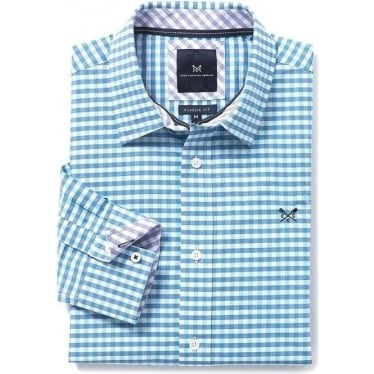 Mens Classic Gingham Shirt in Marine Blue Topaz