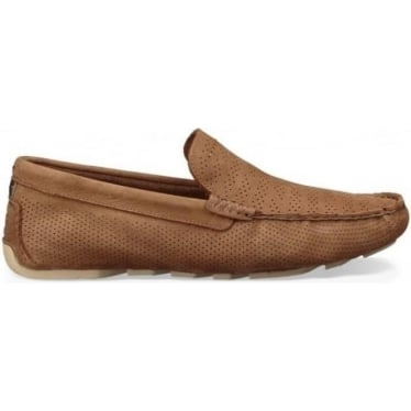 Mens Henrick Stripe Perf Driving Shoe in Tamarind