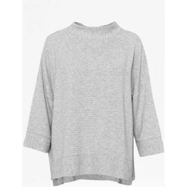 Womens Sudan Marl 3/4 Sleeve Top in Grey