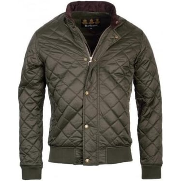 Mens Moss Quilted Bomber Jacket in Sage