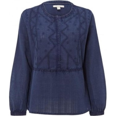 Womens Indigo Hues Top in Ink Pot Blue
