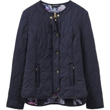 Womens Gisella Collarless Quilted Jacket in Marine Navy