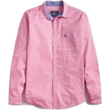 Joules Mens Welford Classic Fit Shirt in Pink Stripe
