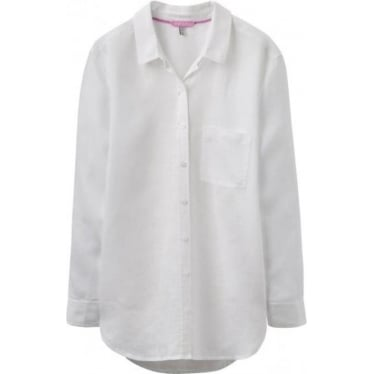 Womens Jeanne Linen Longline Shirt in Bright White