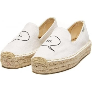 Womens Ashkahn Hi/Hey Embroidered Platform Smoking Slipper in White