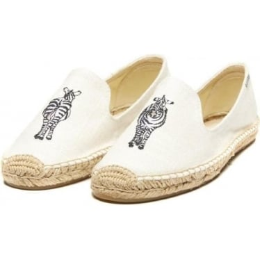 Womens Zebra Embroidered Smoking Slipper in White