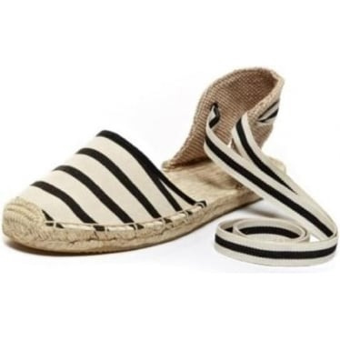 Womens Classic Stripe Sandal in Natural Black