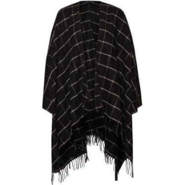 Womens Windowpane Cape in Black/White