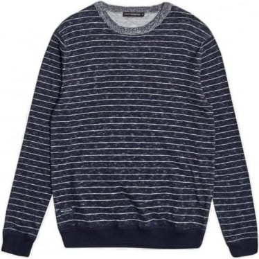 Mens Plaited Stripe Knitted Jumper in Marine Blue/Milk