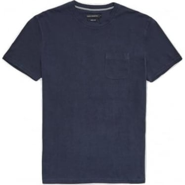 Mens Rough Jeans Chest Pocket T-shirt in Marine Blue