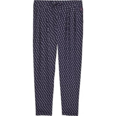 Womens Anice Woven Print Trouser in French Navy Oyster