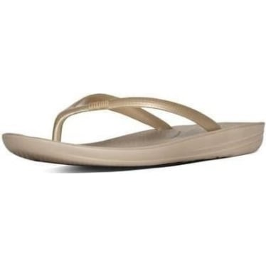 Womens Iqushion Super-Ergonomic Flip Flops in Gold