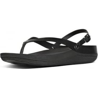 Womens Flip Leather Back-Strap Sandals in All Black
