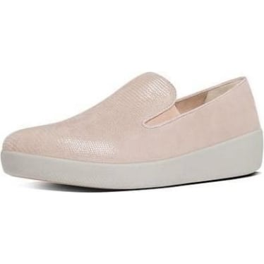 Womens Superskate Lizard-Print Suede Loafers in Nude Pink