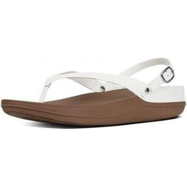 Womens Flip Leather Back-Strap Sandals in Urban White