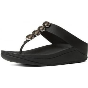 Womens Leather Toe-Thong Rola Sandal in Black