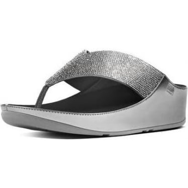 Womens Crystall Toe-Thong Sandals in Pewter