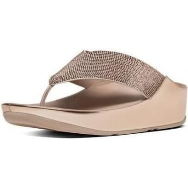 Womens Crystall Toe-Thong Sandals in Rose Gold