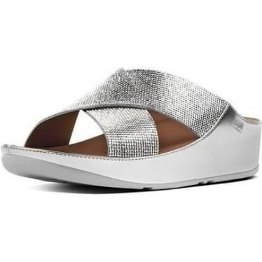 Womens Crystall Slide Sandals in Silver