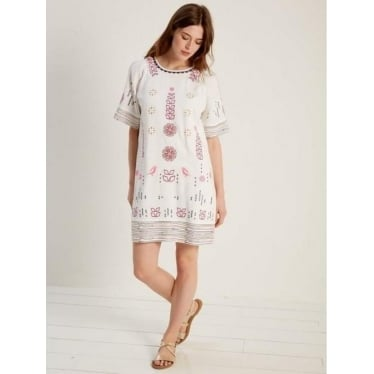 Womens Aster Dress in White Print