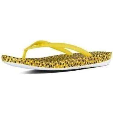 Womens Iqushion Super-Ergonomic Flip Flops in Yellow Bubbles