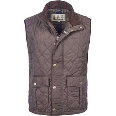 Mens Explorer Quilted Gilet in Dark Olive
