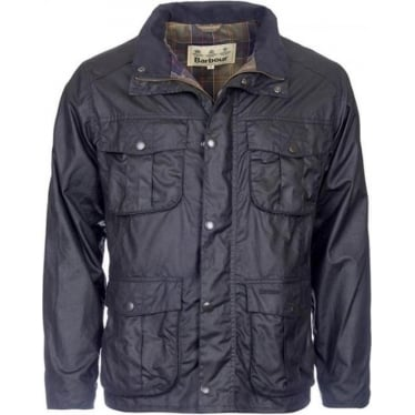 Mens New Utility Wax Jacket in Black